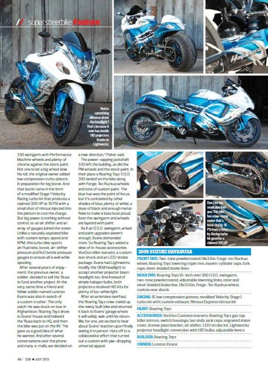 Roaring Toyz Hayabusa Turbo Super Streetbike Magazine Feature